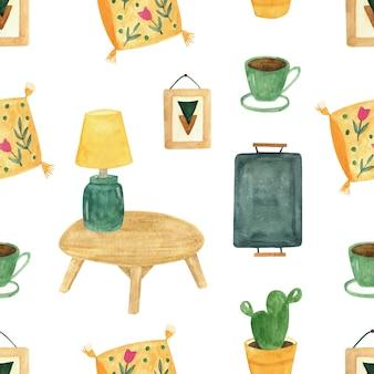 Hygge wystrój domu wzór z rośliną, lampą stołową, kawą, poduszką. akwarela przytulne wnętrze