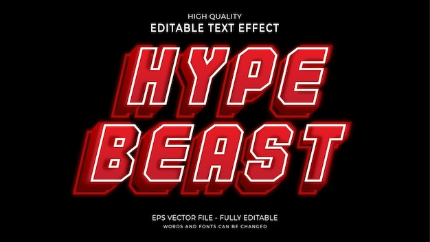 Hype bestia tekst, edytowalny efekt czcionki.