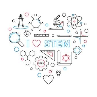 I love stem heart zarys ilustracji