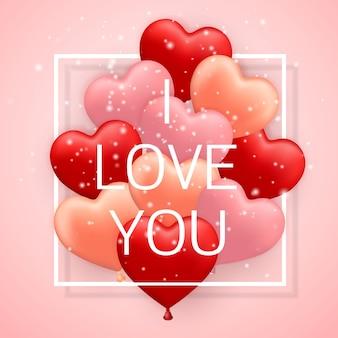 I love you, happy valentines day, czerwony, różowy i pomarańczowy balon w formie serca ze wstążką