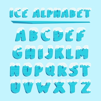Ice alphabet typography snow font letters