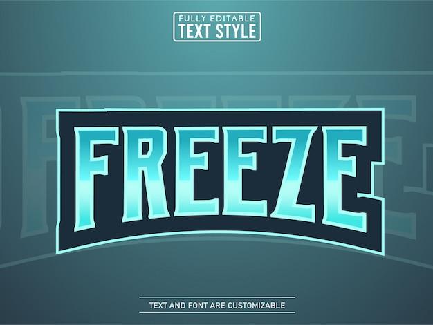 Ice freeze cool nowoczesny tekstowy efekt logo e-sportowego