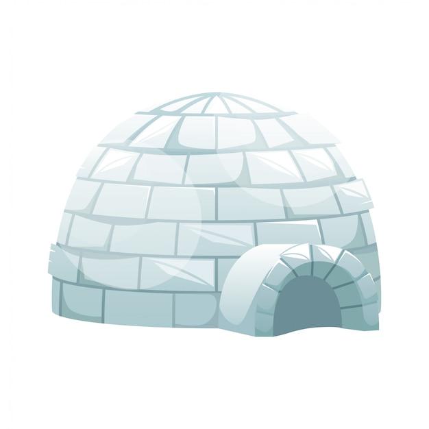 Ice igloo. zimowy północny krajobraz. życie eskimosów.