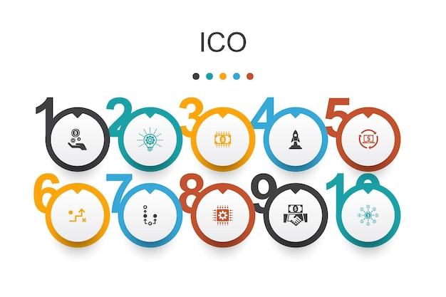 Ico infografika szablon projektu.kryptowaluta, start, gospodarka cyfrowa, proste ikony technologii