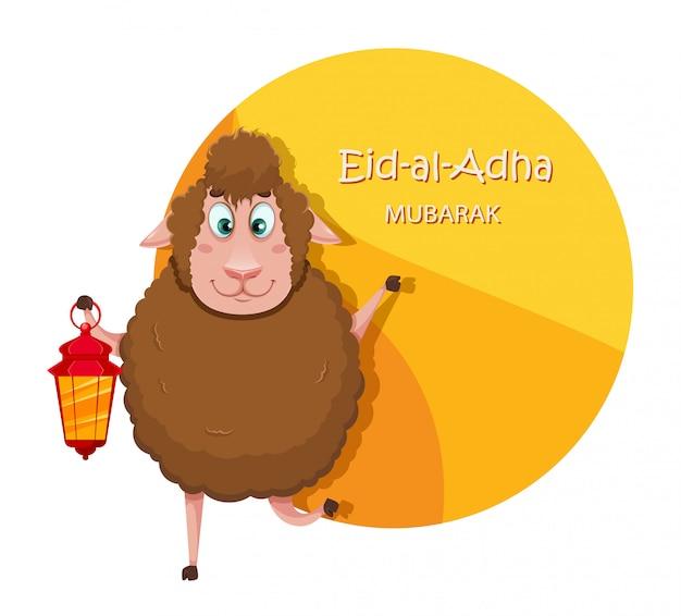 Id al-adha mubarak. owce śmieszne kreskówki