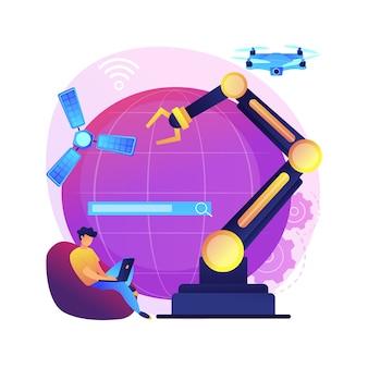 Idea technologii kosmicznych. eksploracja kosmosu, rozwój nanotechnologii, informatyka i inżynieria. futurystyczne wynalazki. rakieta sterowana przez ai. ilustracja koncepcja na białym tle