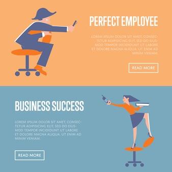 Idealne banery sukcesu pracowników i biznesu