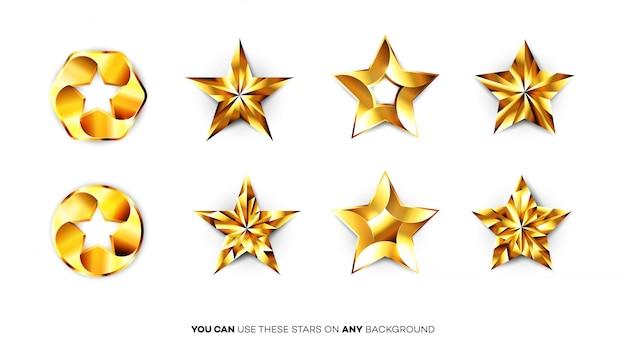 Idealne błyszczące złote gwiazdy.