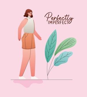 Idealnie niedoskonała kobieta kreskówka z motywem liści, motywem miłości i opieki