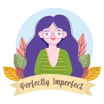 Idealnie niedoskonała kobieta w okularach portret kreskówka, ilustracja dekoracji kwiatowych