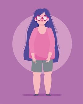 Idealnie niedoskonała, kreskówka kobieta w okularach