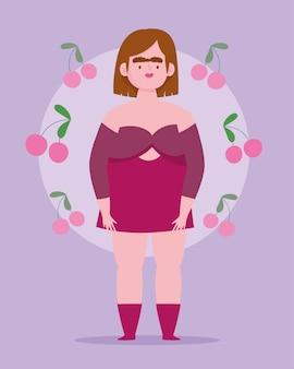 Idealnie niedoskonała, postać kobiety z kreskówek, plus size kocha twoje ciało