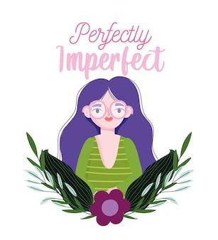 Idealnie niedoskonała, postać z kreskówki kobieta portret kwiat pozostawia kartę