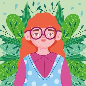 Idealnie niedoskonała, rysunkowa dziewczyna w okularach, na tle liści liści