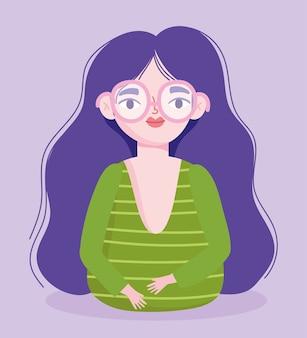 Idealnie niedoskonała, rysunkowa kobieta w okularach i długich włosach