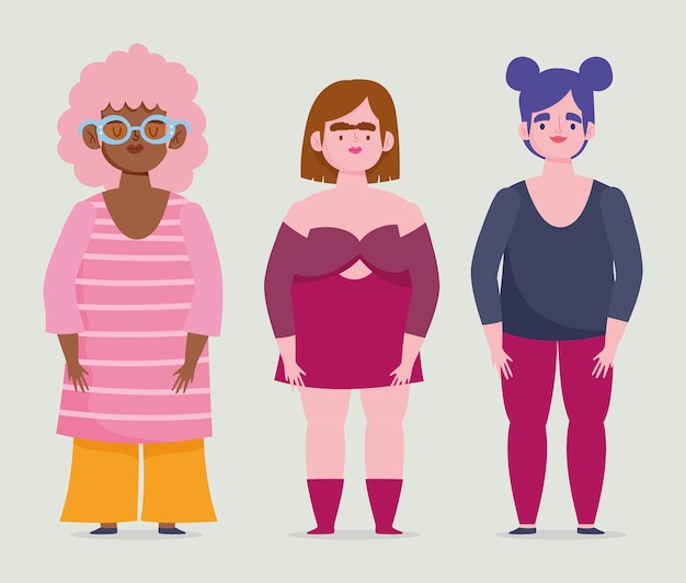 Idealnie niedoskonałe, rysunkowe kobiety tworzą krągłe ciało