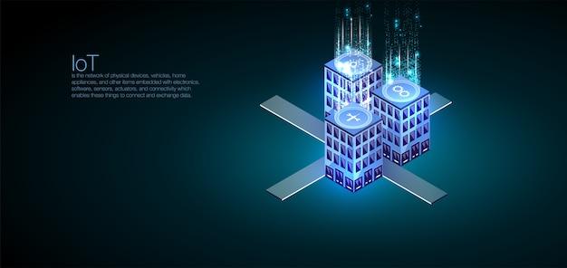 Idealny do projektowania stron internetowych, banerów i prezentacji. analiza danych i wizualizacja izometryczna