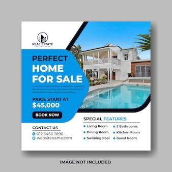 Idealny dom na sprzedaż szablon projektu postu w mediach społecznościowych nieruchomości