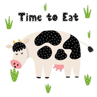 Idealny dzień na szczęśliwą kartkę ze śmieszną krową. śliczna krowa wąchająca kwiatek dla dzieci.