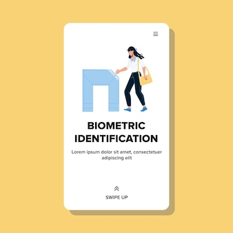 Identyfikacja biometryczna bezpieczeństwa sprzętu wektor. kobieta przechodząc identyfikację biometryczną w celu dostępu i wejść do budynku. technologia rozpoznawania znaków w sieci web płaskie ilustracja kreskówka
