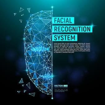 Identyfikacja biometryczna lub koncepcja systemu rozpoznawania twarzy. ilustracja wektorowa ludzkiej twarzy składającej się z wielokątów, punktów i linii z miejscem na tekst na ciemnoniebieskim tle