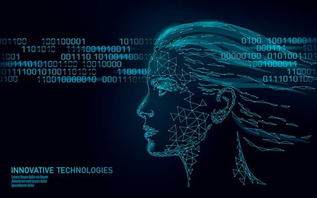 Identyfikacja biometryczna ludzkiej twarzy kobiety low poly. koncepcja systemu rozpoznawania. innowacyjna technologia skanowania danych osobowych.