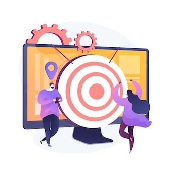 Identyfikacja docelowych odbiorców. konsumenci marki, analiza lojalnych klientów, ankieta marketingowa. eksperci smm analizujący docelowe grupy odbiorców. ilustracja wektorowa na białym tle koncepcja metafora