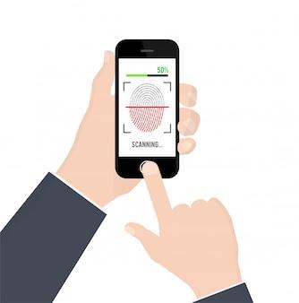 Identyfikacja lub uwierzytelnienie odcisków palców na smartfonie