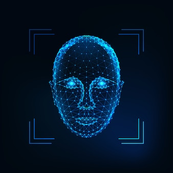 Identyfikacja osoby biometrycznej, koncepcja rozpoznawania twarzy. futurystyczna niska wielokątna ludzka twarz