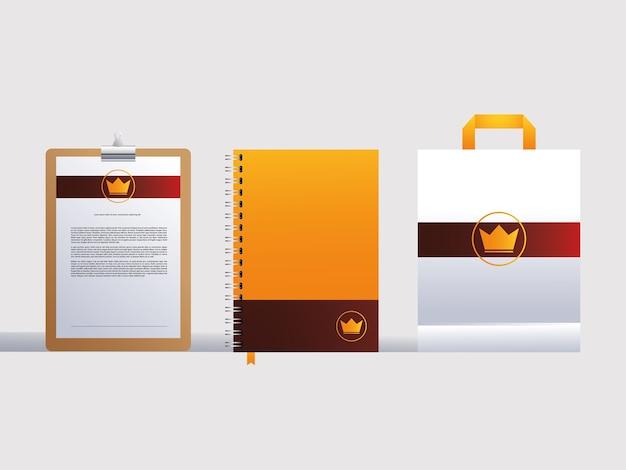 Identyfikacja wizualna marki w ilustracji na białym tle