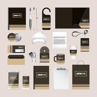Identyfikacja wizualna szablon materiały biurowe