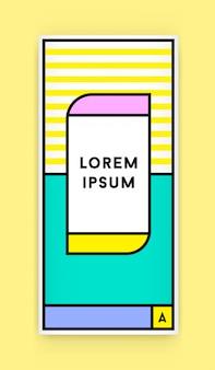 Identyfikacja wizualna w modnym nowym stylu geometrycznym fat line w stylu retro ze świeżymi kolorami starej szkoły z fikcyjnymi nazwami i tekstem