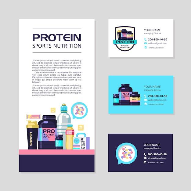 Identyfikacja wizualna, wizytówki, ulotka. białko, odżywianie sportowe. wektor zestaw elementów projektu.