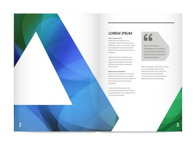 Identyfikacja wizualna z elementami logo litery jasne gradienty łączą styl. broszura wewnętrzna makieta szablonu strony dla biznesu z fikcyjną nazwą