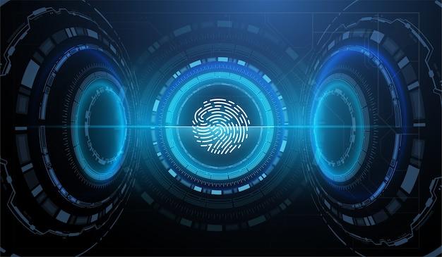Identyfikator biometryczny z futurystycznym interfejsem hud