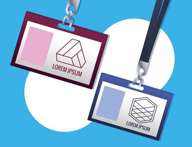 Identyfikator wiszący znaczek marki na niebieskim tle ilustracji