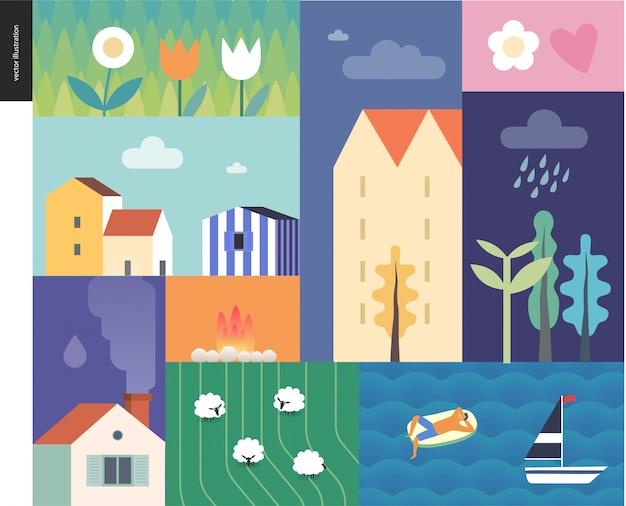 Idillic letni krajobraz - wieś, miasto, podróż, koncepcja obozu wakacyjnego - kolaż drzew, kwiatów, pola z owcami i falami jeziora lub morza z żaglówką i odpoczywającym człowiekiem na dmuchanym materacu