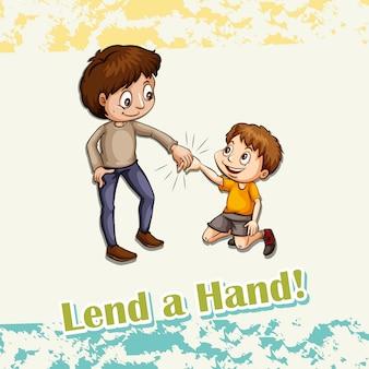 Idiom pożyczać rękę