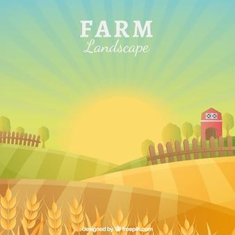 Idylliczny krajobraz gospodarstwa