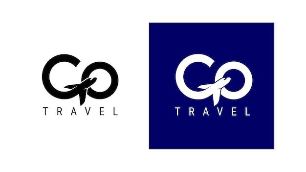 Idź logo podróży. projekt napis g podróży lotniczych. koncepcja wektor proste czarno-białe. modne logo marki, kalendarza, karty, banera, okładki. na białym, niebieskim tle.