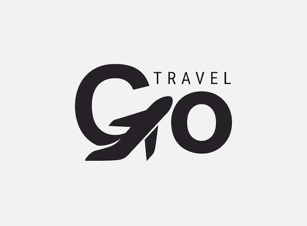 Idź logo podróży. projekt napis g podróży lotniczych. koncepcja wektor proste czarno-białe. modne logo marki, kalendarza, karty, banera, okładki. na białym tle.