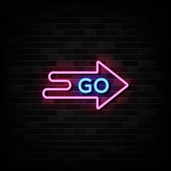 Idź neon signs. zaprojektuj szablon w stylu neonowym