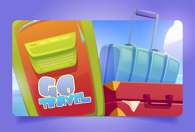 Idź podróżna strona docelowa kreskówki z torbami bagażowymi