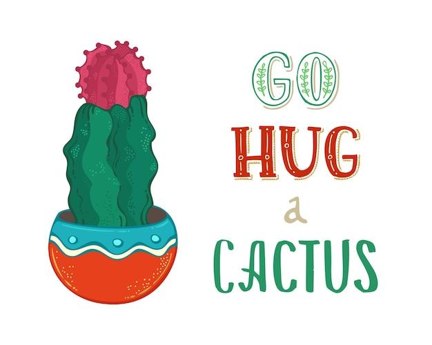Idź przytul kaktusa. kaktus podbródek z kwiatem w doniczce na białym tle