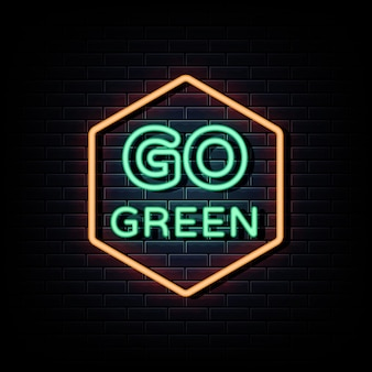 Idź tekst zielony logo neony
