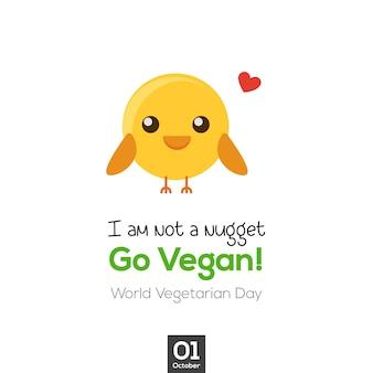 Idź wegańską i uroczą małą ilustrację z kurczaka