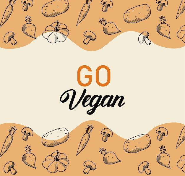 Idź wegański napis z ramką warzyw