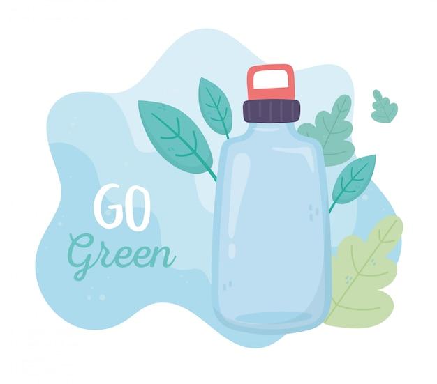 Idź zielone butelki liści ekologia środowiska