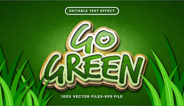 Idź zielony efekt tekstowy, edytowalny styl tekstu kreskówki i lasu premium wektorów