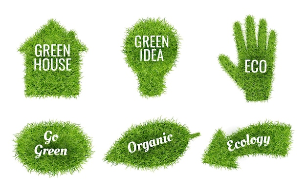 Idź zielony realistyczne symbole ekologiczne zestaw ilustracji